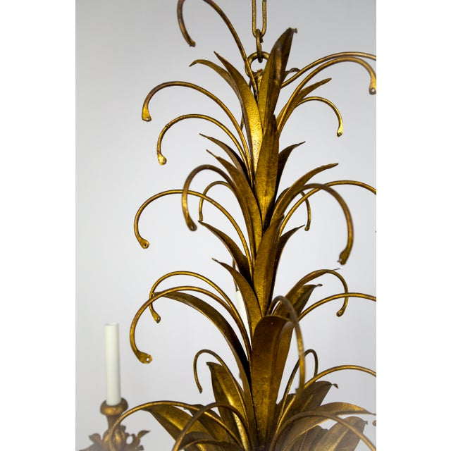 Gilt Palm Leaf Regency Chandeliers (2 Available) For Sale - Image 9 of 13