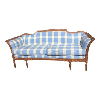 Beautiful Antique Carved Fruitwood Plaid Sofa For Sale