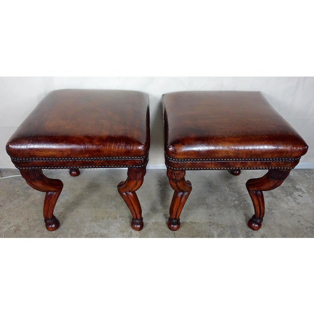 Primitive Leather Embossed Gazelle Benches, Pair For Sale - Image 3 of 8