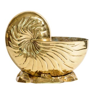 Solid Brass Nautilus Shell Bottle Cooler, C.1970 For Sale