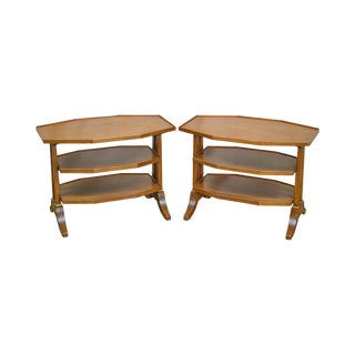 Henredon Regency Directoire Style Pair of Vintage Fruitwood 3 Tier Side Tables For Sale