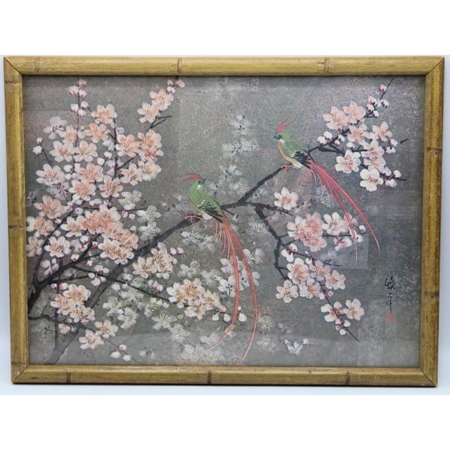 Vintage Exotic Birds Print in Faux Bamboo Wood Frame For Sale - Image 4 of 8