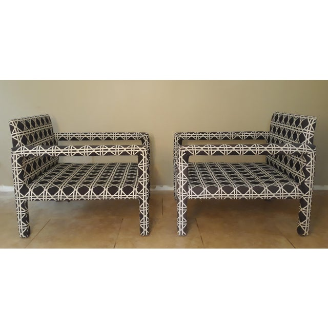 Mid-Century Modern Mid Century Parsons Op Art Crossed Rope Design Black & White Upholstered Club Chairs - a Pair For Sale - Image 3 of 12