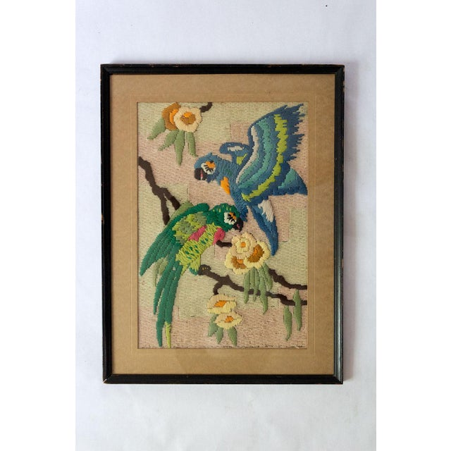Tan 1930s Vintage Tropical Parrot Crewel Work Framed Textile Art For Sale - Image 8 of 8