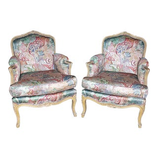 Early 20th Century Vintage French L. XV Type Bergere Club Salon Armchairs- A Pair For Sale