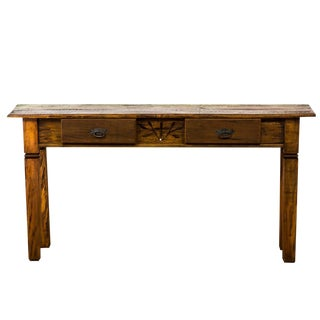Reclaimed Peroba Rosa Wood Console With Carving Details