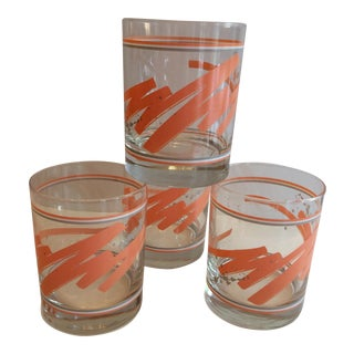 Vintage Swirl Coral White Grey Lo-Ball Glasses - Set of 4 For Sale