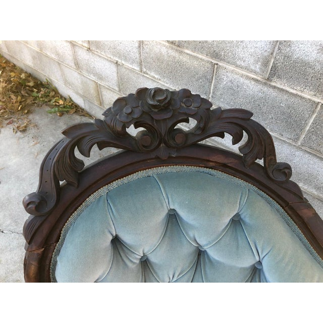 Blue 19th Century Traditional Camel-Back Carved Sofa For Sale - Image 8 of 12