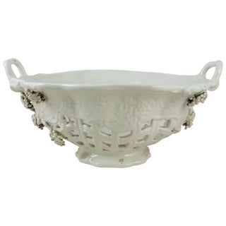 1900s French White Reticulated Grapes Basket