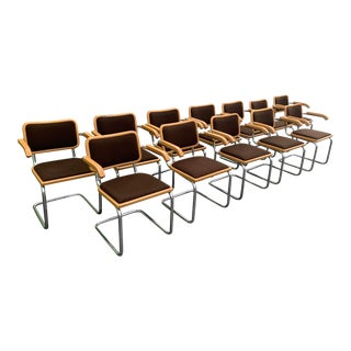 Vintage Marcel Breuer Cesca Chrome Dining Arm Chairs - Set of 12 For Sale