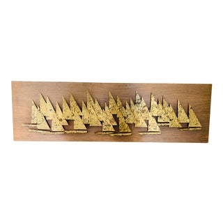 Peter Pepper Mid Century Modern Abstract Metal Sailboat Wall Sculpture For Sale