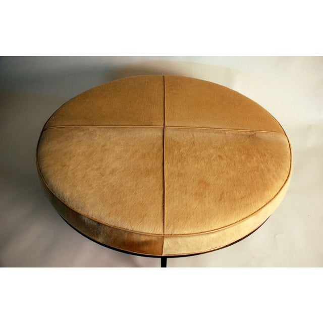 """Contemporary """"Tambour"""" Natural Hide and Brass Ottoman For Sale - Image 4 of 10"""