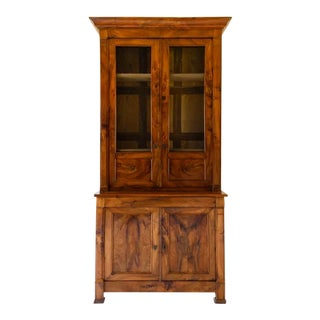 1860 French Empire Walnut Bookcase With Wire Doors For Sale