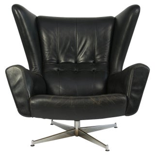 Sven Skipper Leather Lounge Chair and Ottoman For Sale