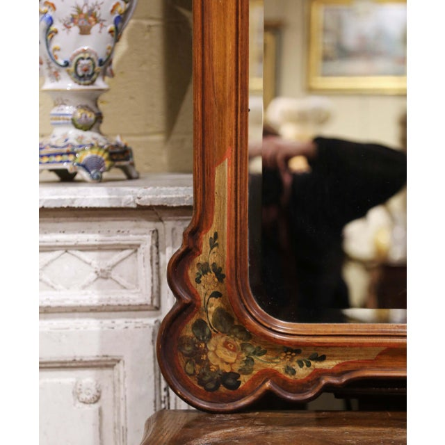 Italian Midcentury Italian Carved Hand Painted Wall Mirror With Floral Decor For Sale - Image 3 of 8