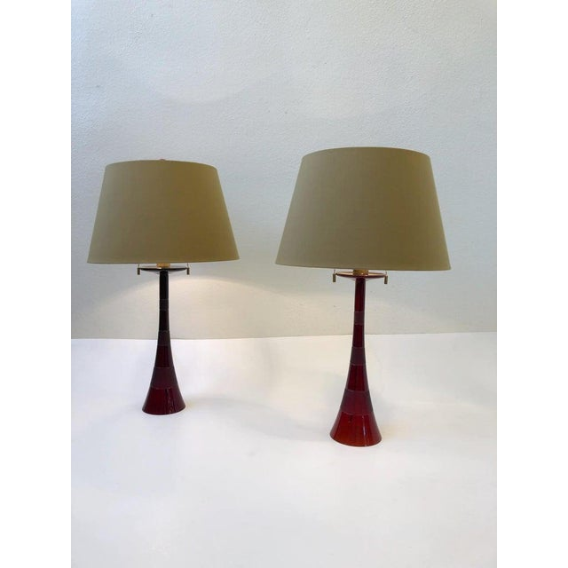 1970s Italian Ruby Red Murano Glass and Brass Table Lamps by Donghia - a Pair For Sale - Image 5 of 13