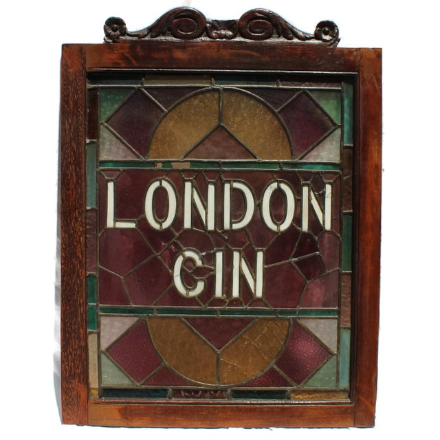 "Pair of 1920s hand-made ""London Gin"" and ""Scotch Whiskey"" framed English Pub window panels. Salvaged from a pub in London,..."