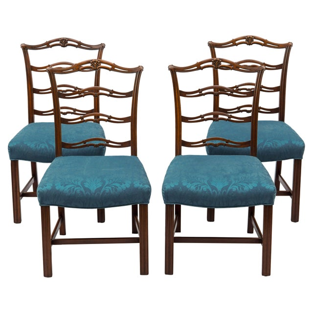Chippendale Ladder-Back Side Chairs, S/4 For Sale In Chicago - Image 6 of 11