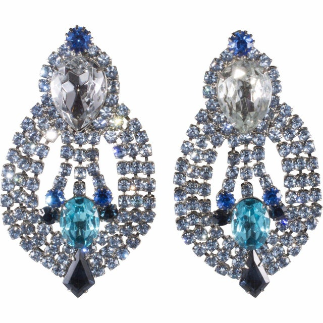 """Dominique Dominique Earrings Blue Rhinestone Clips Drag Queen Statement 4 1/2"""" Huge For Sale - Image 4 of 4"""