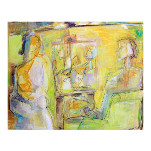 """""""Artist and Model"""" by Trixie Pitts Extra-Large Abstract Oil Painting For Sale"""