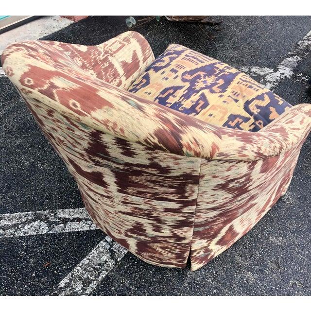 Custom Made Ikat Print Club Chair For Sale - Image 4 of 7