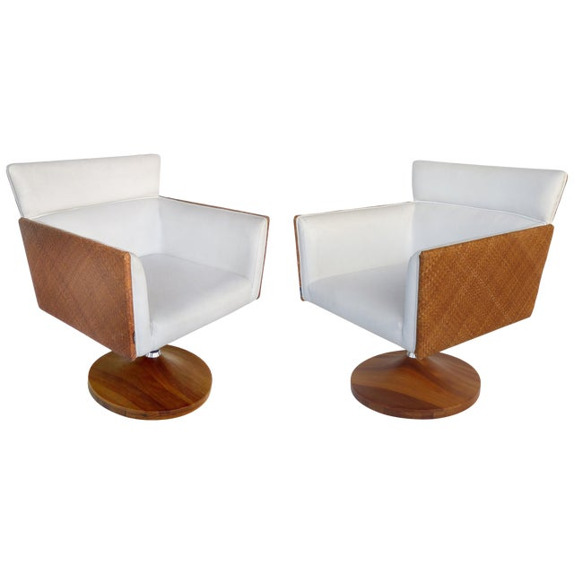 Saccaro Brazilian Caned Swivel Chairs With Wood Bases - a Pair For Sale