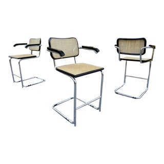 Vintage Marcel Breuer Cesca Counter Bar Stools Italy ~ S/3 For Sale