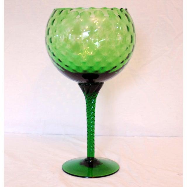 Empoli Vintage Emerald Green Empoli Stemmed Vessel For Sale - Image 4 of 4