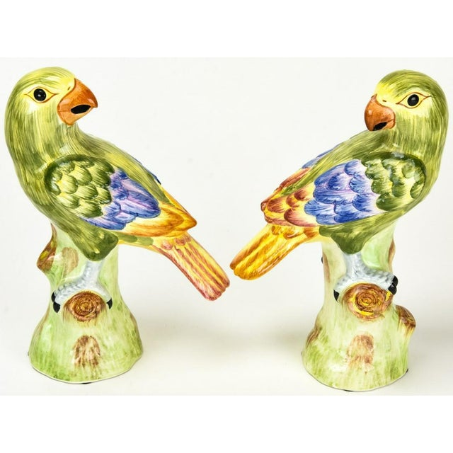 Green 1970s Chelsea House Ceramic Green Parrots Italy - a Pair For Sale - Image 8 of 8