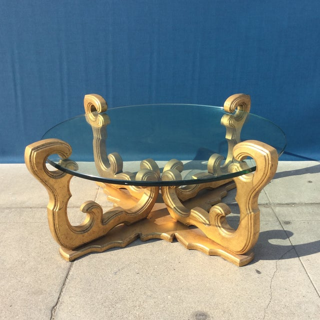 Hollywood Regency Glass Top Coffee Table - Image 2 of 8