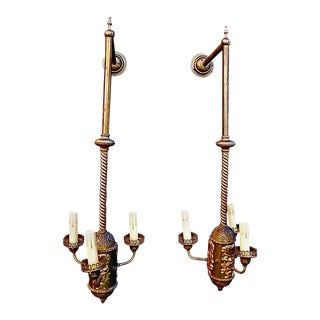 Large 1930s Brass Sconces - a Pair For Sale