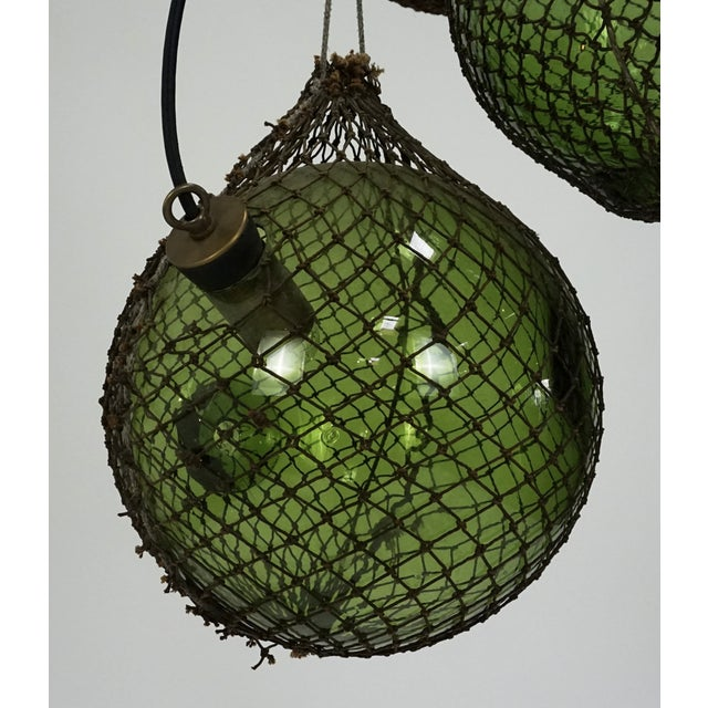 Asian Antique Japanese Green Glass Fishing Floats 3-Light Pendant For Sale - Image 3 of 9
