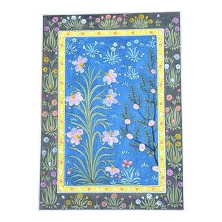 Bohemian Vintage Mughal Botanical Carpet Painting