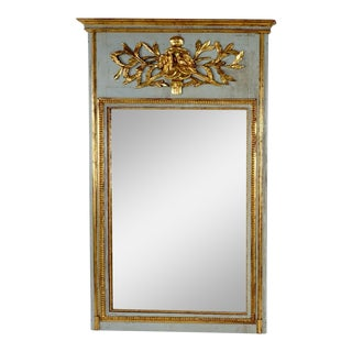 Antique French Louis XVI Trumeau Mirror French Blue and Gilt Wood For Sale