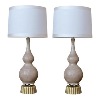 A Chic and Stylish Pair of American Mid-Century Double-Gourd Form Taupe-Glazed Lamps For Sale