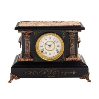 Late 19th Century Pasargad French Slate and Marble Mantel Clock For Sale