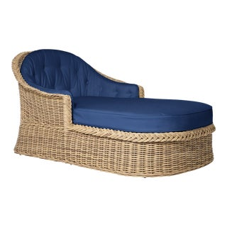 Wicker Works Chaise Lounge in Pacific Blue For Sale