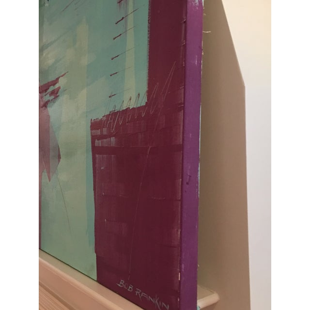 Original Bob Rankin Large Abstract Teal and Violet Painting For Sale - Image 4 of 8