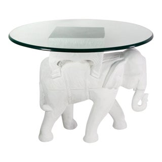 1970s Hollywood Regency White Gesso Solid Teak Elephant Side Table For Sale