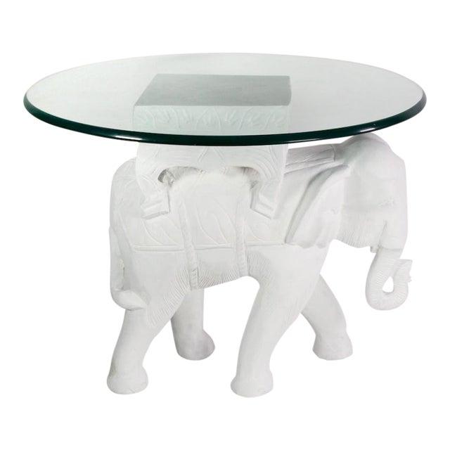 1970s Hollywood Regency White Gesso Solid Teak Elephant Side Table For Sale