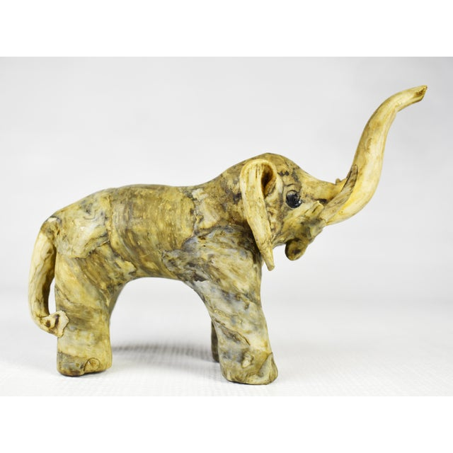 Mid 20th Century Vintage Handmade Crushed Oyster Shell Elephant Figurine For Sale - Image 5 of 8