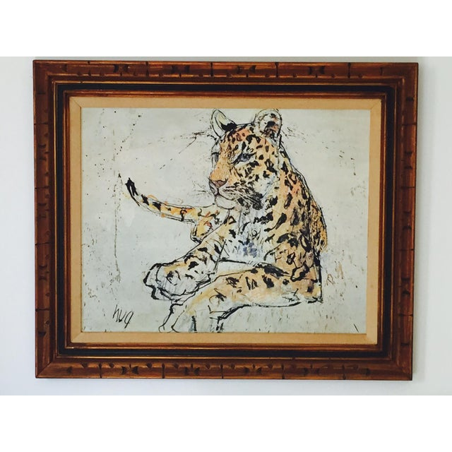 1970s Vintage Leopard Lithograph on Canvas - Image 2 of 10