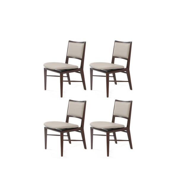 Set of four large-scale dining chairs model number 5298 by Edward Wormley for Dunbar, 1953. These fabulous examples have...