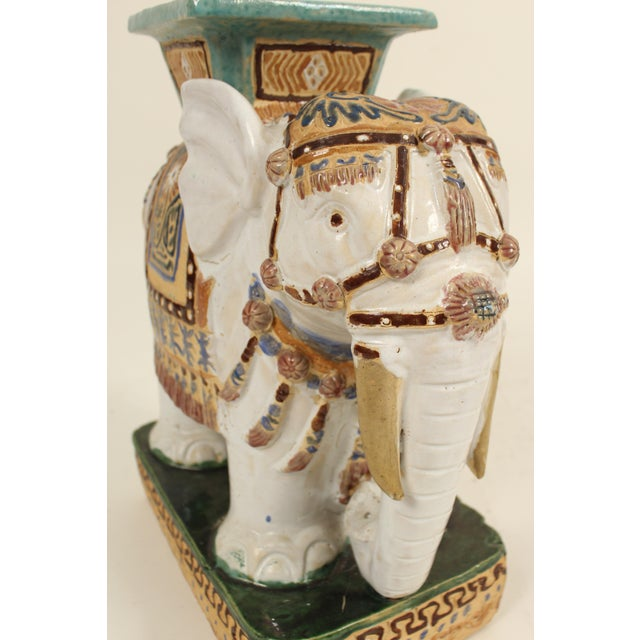 Ceramic 1980s Chinoiserie Polychrome Decorated Stoneware Elephant Form Garden Seats - a Pair For Sale - Image 7 of 11