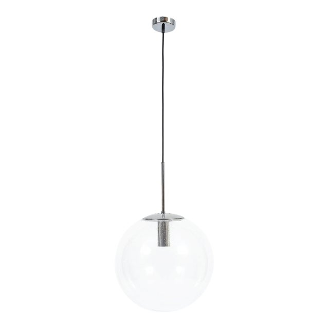 Glashütte Limburg Large Clear Glass Ball Pendant Light Lamps, circa 1960 For Sale