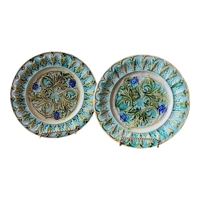 Antique French Acanthus Leaf Plates - a Pair For Sale