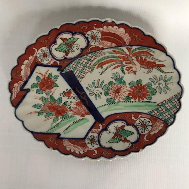 Blue Oval Scalloped Imari Platter For Sale - Image 8 of 8