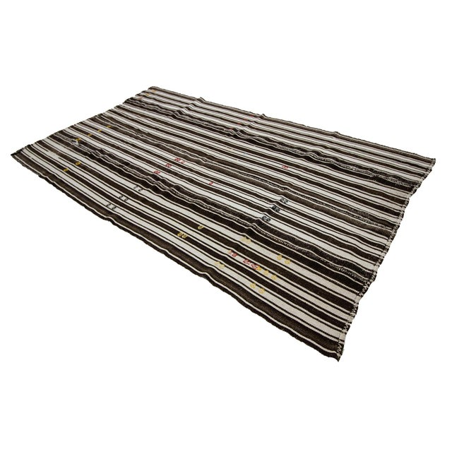 1960s Vintage Brown & White Striped Kilim Rug- 5′8″ × 9′6″ For Sale - Image 4 of 7