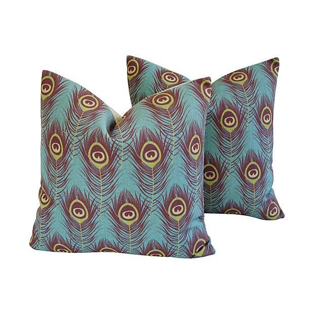 Custom Peacock Feather Linen Pillows - Pair - Image 1 of 7