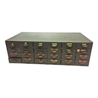 Vintage Lyon Industrial Gray Metal 24-Drawer Cabinet